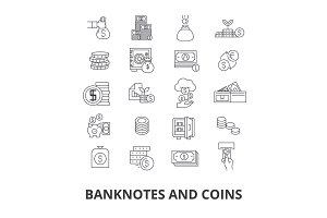 Banknotes and coins, money, euro, guilloche, bank, dollar, note, coins, bill line icons. Editable strokes. Flat design vector illustration symbol concept. Linear isolated signs