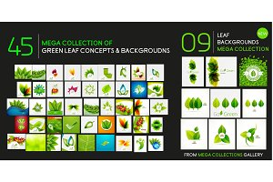 Vector mega collection of nature and ecology backgrounds - grass, leaves, plants and trees