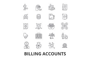 Billing accounts, paying bill, money, receipt, utility, debt, check, payment line icons. Editable strokes. Flat design vector illustration symbol concept. Linear isolated signs