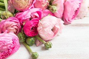 Bouquet of Pink Ranunculus, Buttercup Flowers