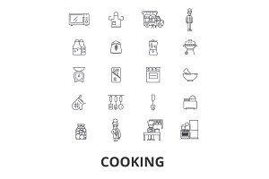 Cooking, kitchen, food, chef, chef class, baking, recipe, utensils line icons. Editable strokes. Flat design vector illustration symbol concept. Linear isolated signs