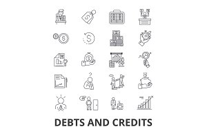 Debts and credits, money, bankruptcy, bill, wealth, finance, financial collector line icons. Editable strokes. Flat design vector illustration symbol concept. Linear isolated signs