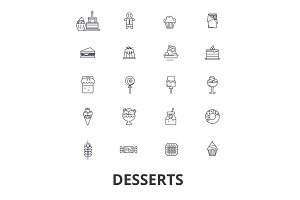 Desserts, cake, food, ice cream, cupcake, sweets, chocolate, cheesecake, coffee line icons. Editable strokes. Flat design vector illustration symbol concept. Linear isolated signs