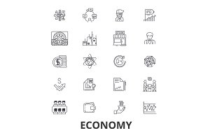 Economy, economics, money, business, finance, global, financial, bank, recession line icons. Editable strokes. Flat design vector illustration symbol concept. Linear isolated signs
