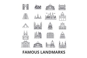 Famous landmark, sights, world place, world travel, tourism, vacation line icons. Editable strokes. Flat design vector illustration symbol concept. Linear isolated signs