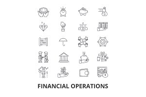 Financial operations, finance, planning, services, money, accounting, investment line icons. Editable strokes. Flat design vector illustration symbol concept. Linear isolated signs
