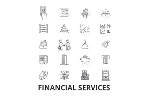 Financial services, operations, finance, planning, money, accounting, investment line icons. Editable strokes. Flat design vector illustration symbol concept. Linear isolated signs