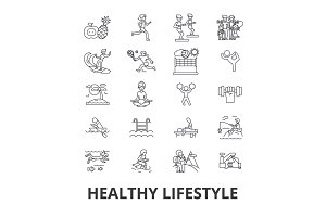Healthy lifestyle, active living, natural food, healthcare, wellness, exercise line icons. Editable strokes. Flat design vector illustration symbol concept. Linear isolated signs