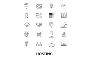 Hosting, hostess, web, server, cloud hosting, domain, computing, interne line icons. Editable strokes. Flat design vector illustration symbol concept. Linear isolated signs