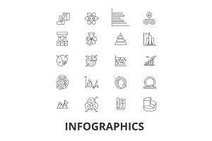 Infographics, graph, information, elements, arrow, charts, timeline, profit line icons. Editable strokes. Flat design vector illustration symbol concept. Linear isolated signs