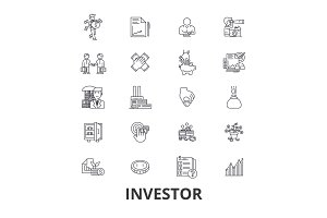 Investor, investment, business, stock market, finance, money, business man, bank line icons. Editable strokes. Flat design vector illustration symbol concept. Linear isolated signs