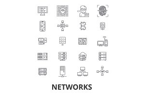 Networks, people, computer, connect, social, business, internet, communication line icons. Editable strokes. Flat design vector illustration symbol concept. Linear isolated signs
