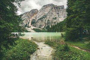 Mountain Lake in Valle di Braies