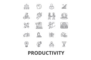 Productivity, efficiency, increase, innovation, business, growth, profit line icons. Editable strokes. Flat design vector illustration symbol concept. Linear isolated signs