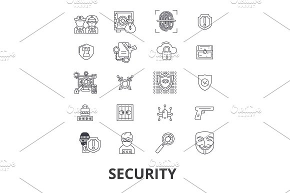 Security Safety Protection Lock Safe Guard Insurance Cctv Control Line Icons Editable Strokes Flat Design Vector Illustration Symbol Concept Linear Isolated Signs