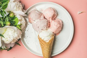 Strawberry and coconut ice cream