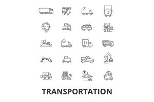 Transportation, truck, logistic, transport, car, train, ship, vehicle, delivery line icons. Editable strokes. Flat design vector illustration symbol concept. Linear isolated signs