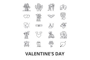 Valentine's day, heart, relations, love couple, kiss, wedding, man and woman line icons. Editable strokes. Flat design vector illustration symbol concept. Linear isolated signs