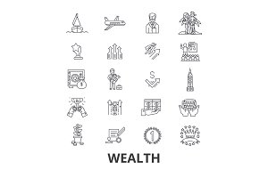 Wealth, banking, money, rich, luxury, success, prosperity, investment line icons. Editable strokes. Flat design vector illustration symbol concept. Linear isolated signs