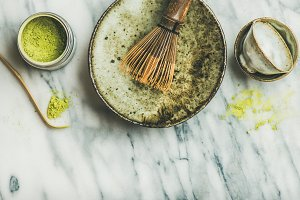 Tools for brewing matcha green tea