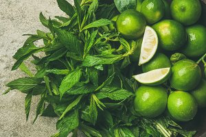 Fresh limes and mint