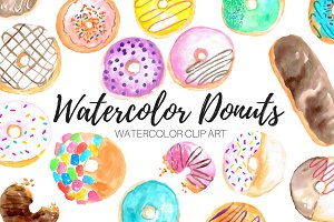 Watercolor Donuts Clip Art Set