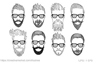 hipster with beard vector set