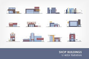 Set of buildings in flat style