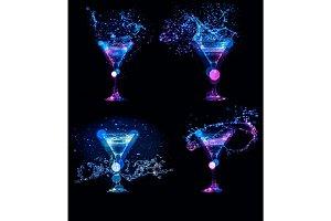 splashes of cocktails in glasses