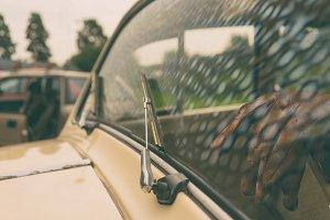 Windshield of a vintage car
