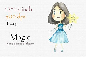 Digital clipart, magic girl