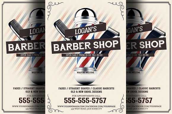 Barber Shop Flyer Template 2 Flyer Templates Creative Market