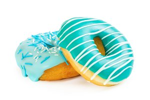 Two colorful donut