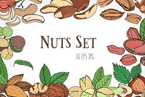 Nuts set​ and seamless pattern