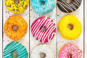 Various colorful donuts