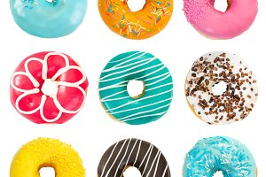 Set of various colorful donuts