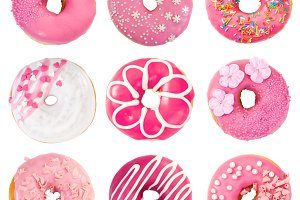 Set of various pink donuts