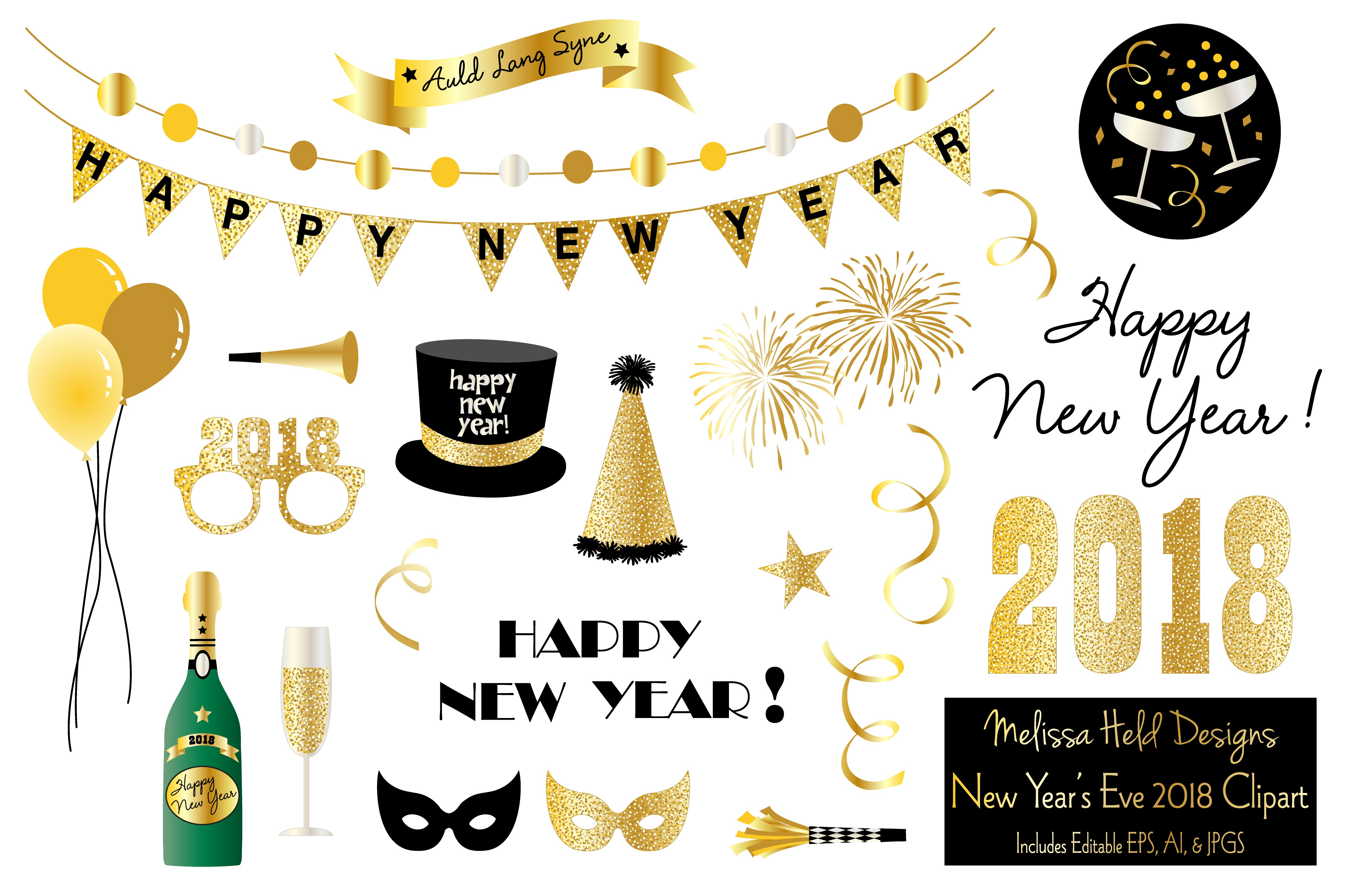 new years eve 2018 clipart illustrations creative market