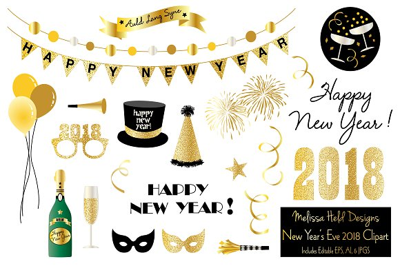 new years eve 2018 clipart illustrations