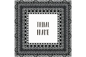 Vector Black Abstract Tribal Frame