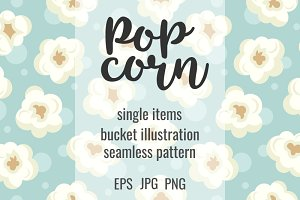 Colorful popcorn cute set