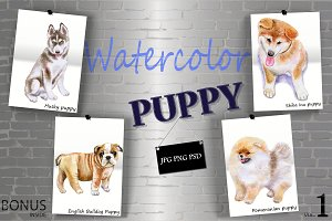 Watercolor Cute Puppies - Set 1 of 2