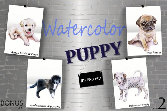 Watercolor Cute Puppies - Set 2 of 2