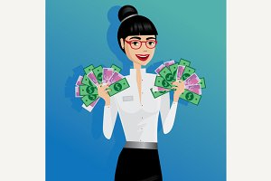 Business woman holding lot of money