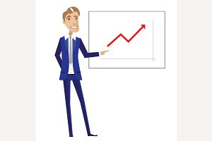 Business man pointing at chart