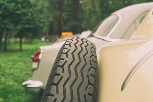 Spare car wheel of a vintage car