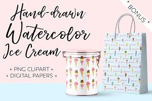 Hand-drawn Watercolor Ice Cream