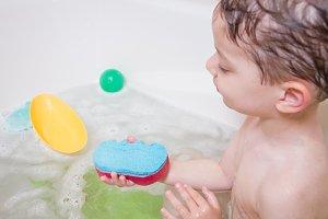 Cute boy happiness having bath
