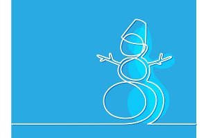 Christmas winter Snowman on blue background.