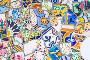 Ceramic mosaics in park Guell